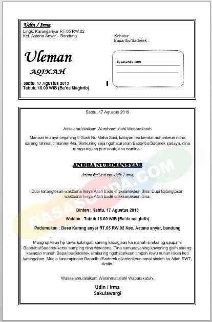 Uleman Syukuran Bahasa Sunda Beserta File Documentnya