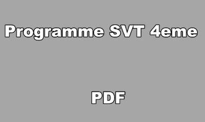 Programme SVT 4eme PDF