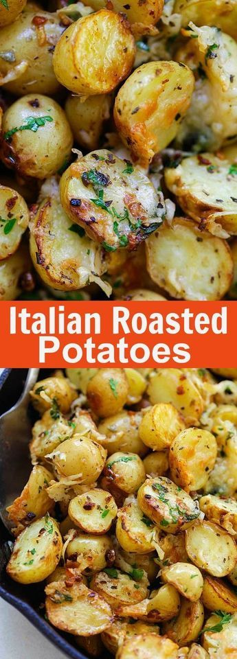 Italian Roasted Potatoes - buttery, cheesy oven-roasted potatoes with Italian seasoning, garlic, paprika and Parmesan cheese. So delicious.