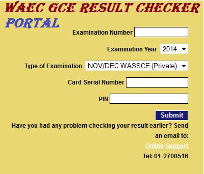 2018 WAEC GCE Result Checker Portal