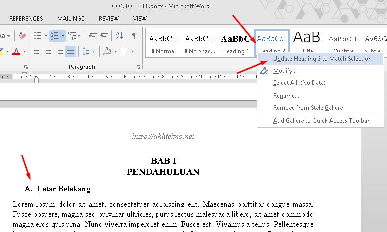Cara membuat daftar isi otomatis pada Microsof Word - Mengatur heading 2 untuk judul bab, update heading 2 to match selection