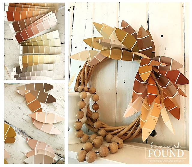 art class,boho style,color palettes,crafting,paper,paper crafts,decorating,DIY,diy decorating,fall,FREE,neutrals,farmhouse style,re-purposing,up-cycling,Thanksgiving,trash to treasure,wall art,wreaths,thanksgiving decor, November decorating, fall leaves, paper leaves, fall mantel decor, fall wreath, fall entry decor, paint chip crafts, paint chip art, paint chip fan deck, neutral fall decor, fall farmhouse decor, fall boho decor.