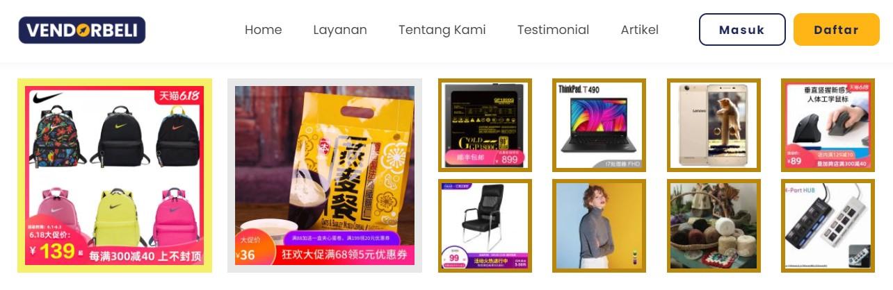 Jenis barang China yang bisa dibeli via Vendorbeli