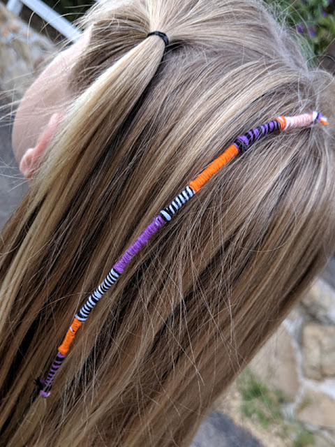 how to do easy DIY hair wraps with kids -fun for Halloween too!
