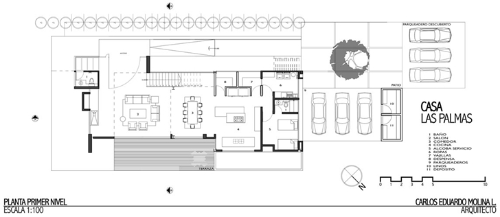 Ground floor plan of Modern architecture house by Carlos Molina