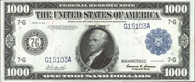1918 $1,000 Federal Reserve Note, Doctored with Larry Summers Signature - Source: http://www.antiquemoney.com/old-one-thousand-dollar-bill-value-price-guide/one-thousand-dollar-bank-notes-pictures-prices-history/price-guide-for-1000-1918-federal-reserve-notes/
