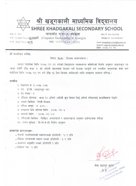 Teacher Wanted for Pre-Primary and Primary Level Teacher - Khadgakali Secondary School
