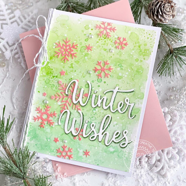 Sunny Studio Stamps: Snowflake Circle Frame Dies Layered Snowflake Frame Dies Winter Themed Holiday Card by Leanne West