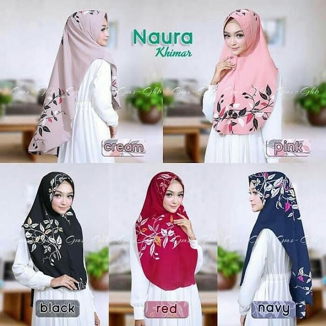 Jilbab Instan Syari Motif Ranting Daun Cantik Terbaru