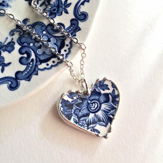 Blue and white transferware china heart pendant Laura Beth Love
