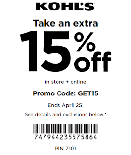 Kohls coupon 15% OFF any purchase