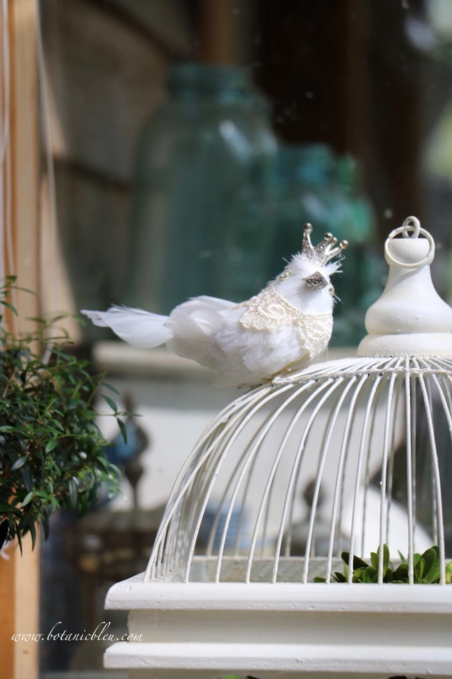 French inspired white bird cage with a crowned bird and lace collar adds an unexpected element to spring decorating