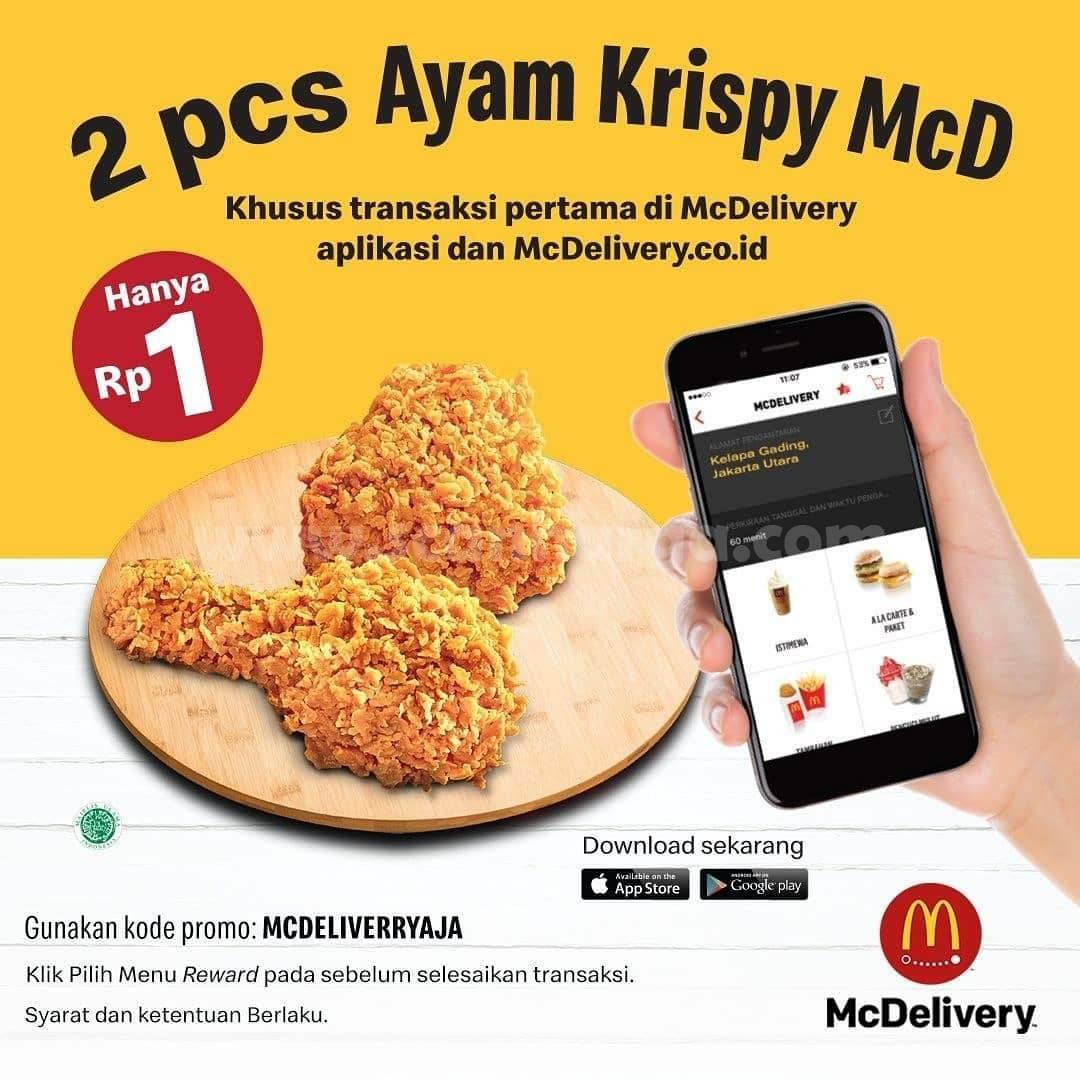 McDonalds Promo 2 Pcs Ayam Krispy McD! Harga hanya Rp 1