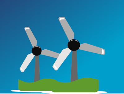 A drawing of two windmills.