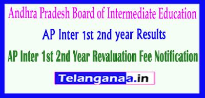 Andhra Pradesh Inter 1st 2nd year Revaluation Fee Notification
