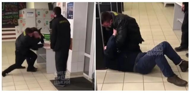 У Хмельницькому охоронець супермаркету розбив відвідувачеві голову. Відео 18+
