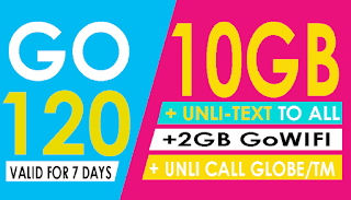 Globe Go120 – 10GB Data + Unli All-net Texts, Unli Call for 7 Days