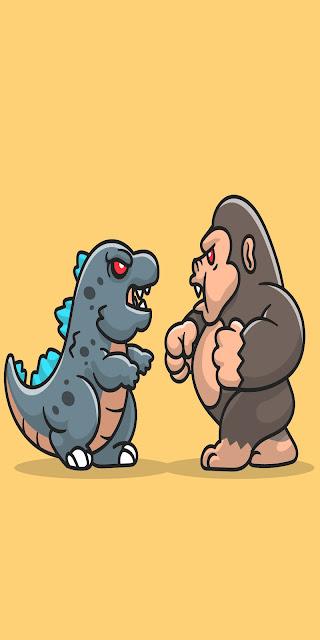 Godzilla Wallpaper vs King Kong Funny HD