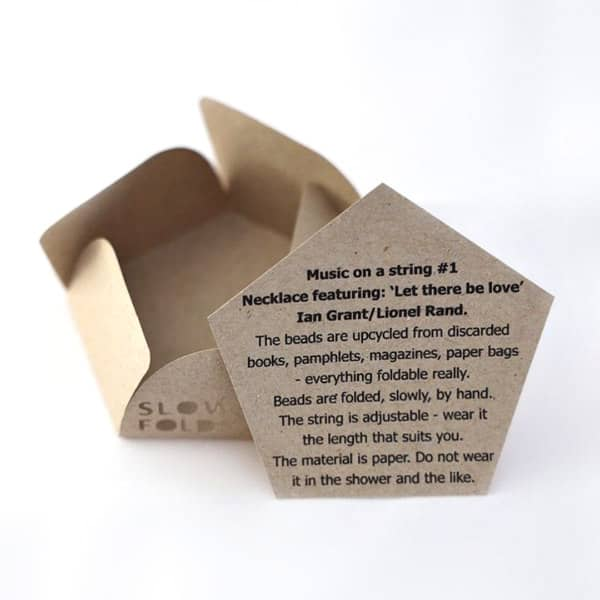 kraft paper product care card for hand folded origami jewelry