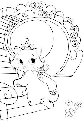 Gatita Marie subiendo la escalera