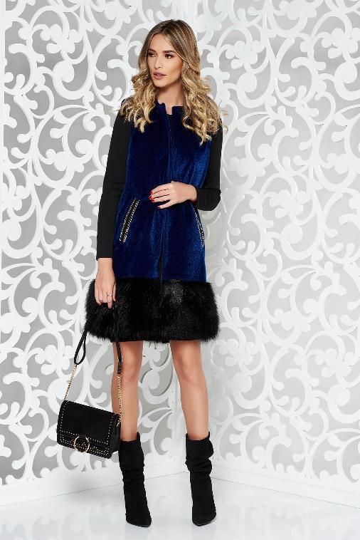 Vesta blanita albastru-inchis eleganta cu buzunare