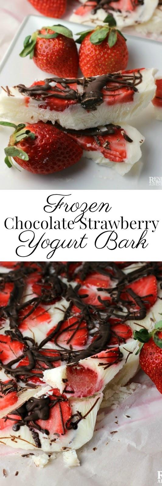 Frozen Strawberry Chocolate Yogurt Bark | Renee's Kitchen Adventures - Easy, healthy dessert or snack made with fresh Florida strawberries, yogurt, and dark chocolate @Flastrawberries #SundaySupper #FLStrawberry #healthysnack #healthyrecipe
