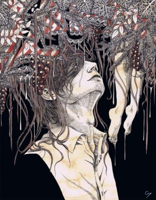 Hiroko Shiina C7 tumblr ilustrações surreais sombrias terror japonês mulheres morte sexualidade