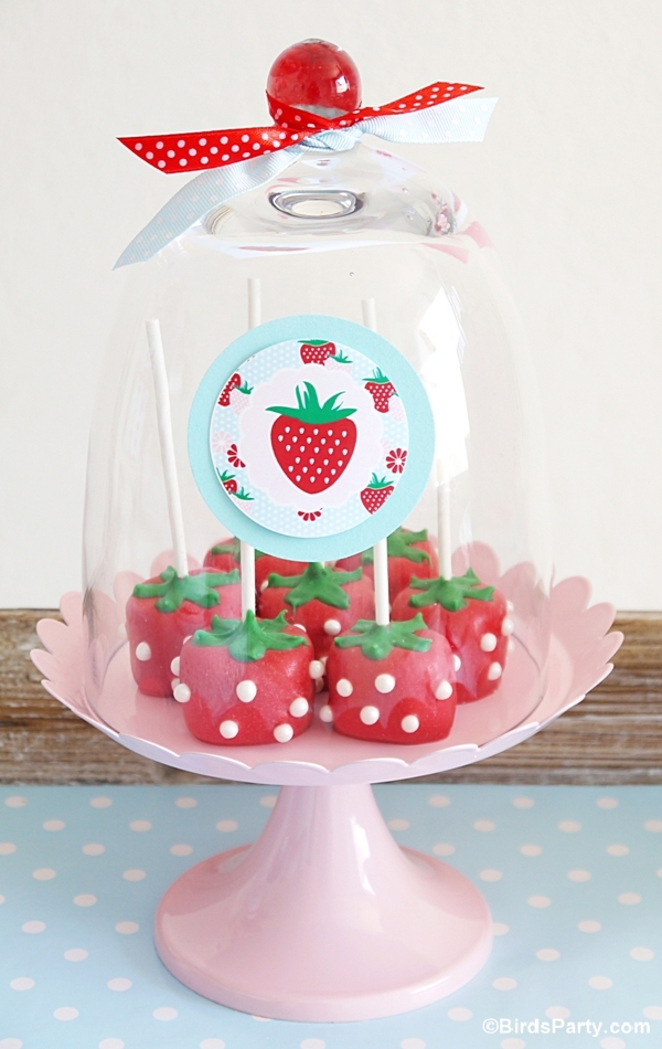 DIY Marshmallow Strawberry Shaped Pops - BirdsParty.com