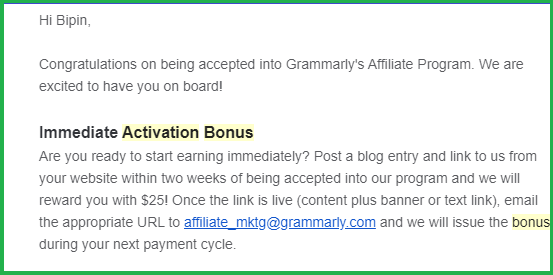 $25 instant activation bonus from Grammarly affiliate