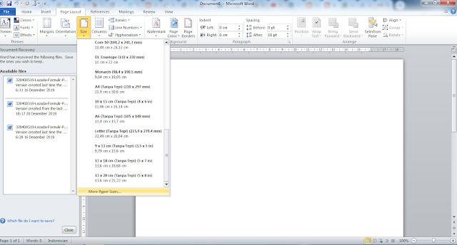 cara mengatur ukuran kertas di MS Word 2010