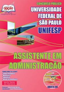 Apostila Concurso UNIFESP 2015, Grátis CD para Assistente em Administração