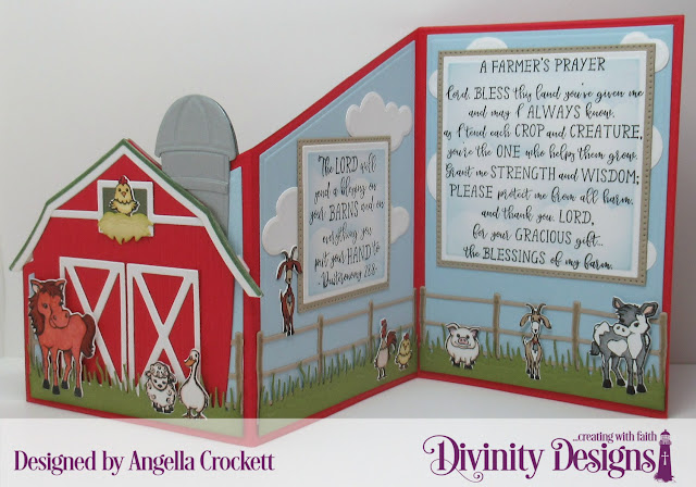 Divinity Designs LLC Farm Friends Stamp/Die Duos, Farmer's Prayer, Barn Dies, Z Fold with Layers Dies, Farm Fence Die, Grass Lawn Die, Clouds and Raindrops Dies, Pierced Squares Dies, Squares Dies, Card Designer Angie Crockett