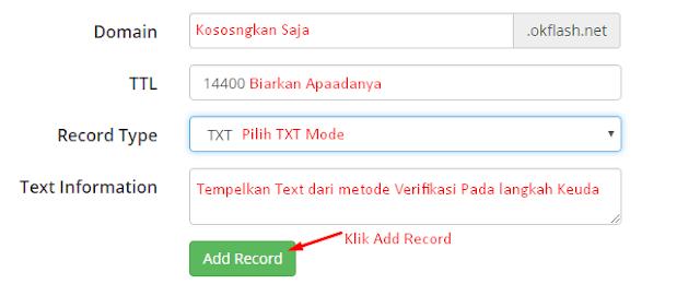DNS Record Verifikasi Domain Blogger