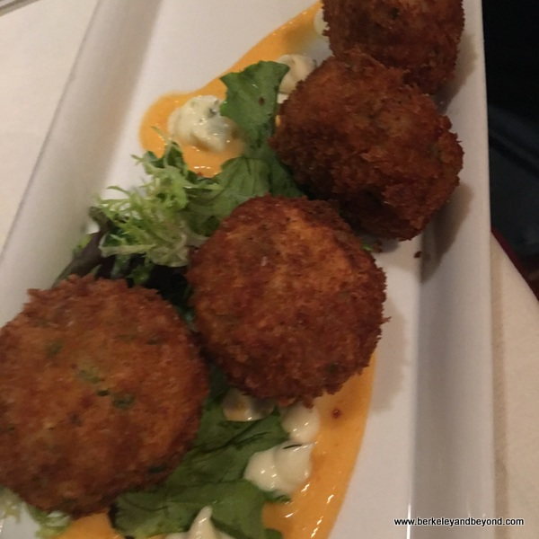 salmon-crab cakes at Kitchen 428 in Woodland, California