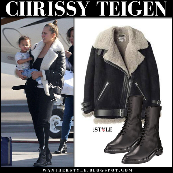 Chrissy Teigen in black shearling jacket acne velocite and black ankle boots the row fara street style december 22