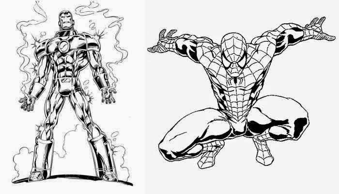 coloriage spiderman iron man