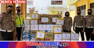Peduli Sesama, Sat Lantas Polres Torut Serahkan Bantuan Korban Gempa di Posko Polres Torut