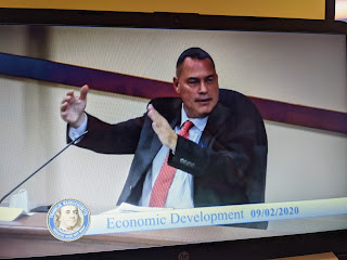Councilor Brian Chandler new member of the EDC gestures in asking a question