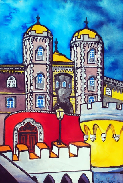 Pena Palace in Sintra Portugal painting by Dora Hathazi Mendes