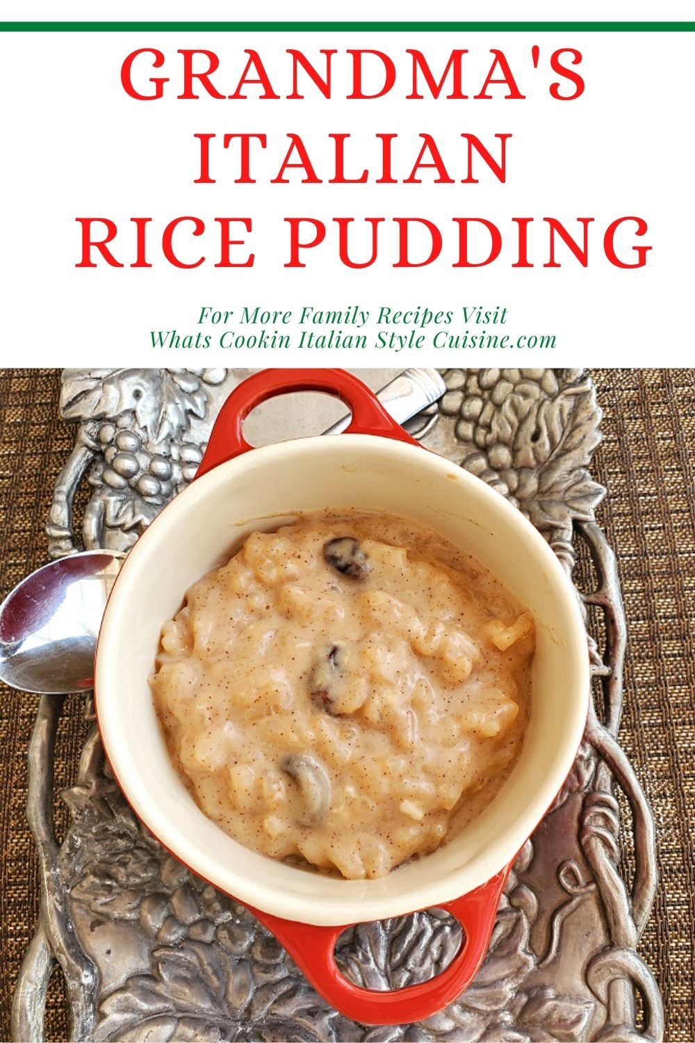 this is a creamy vintage recipe for Grandma's rice pudding done on the stove top. This is an easy recipe for rice pudding made with Arborio rice and its creamy with milk, sugar and other staple ingredients from your pantry Rice in a creamy custard with cinnamon and raisins old fashioned stove top rice pudding grandma's recipe in a corning ware vintage casserole dish