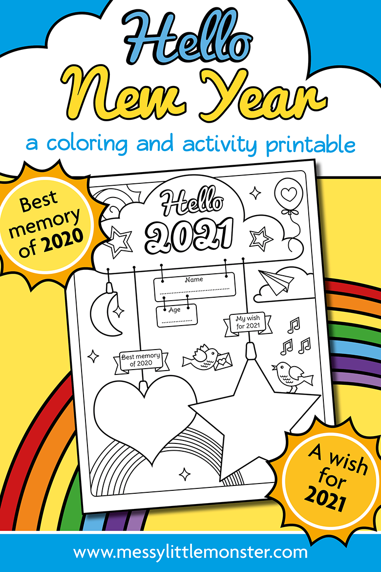 Happy New Year Colouring Printable