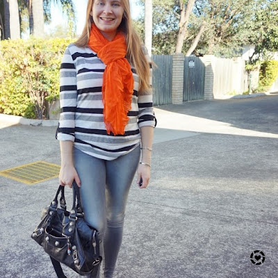 awayfromblue instagram sahm style skinny jeans stripe henley outfit with orange crinkle scarf
