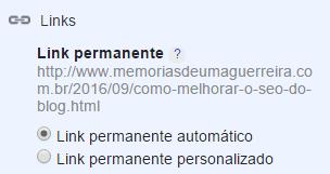 Personalizar URL no Blog