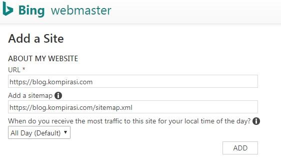 Tambahkan Situs Ke Bing