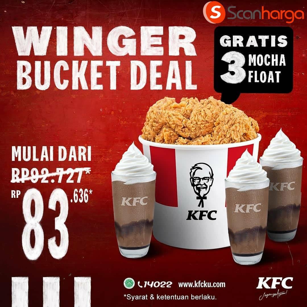 Promo KFC Winger Bucket Deal Rp 83.636 + Gratis 3 Mocha Float