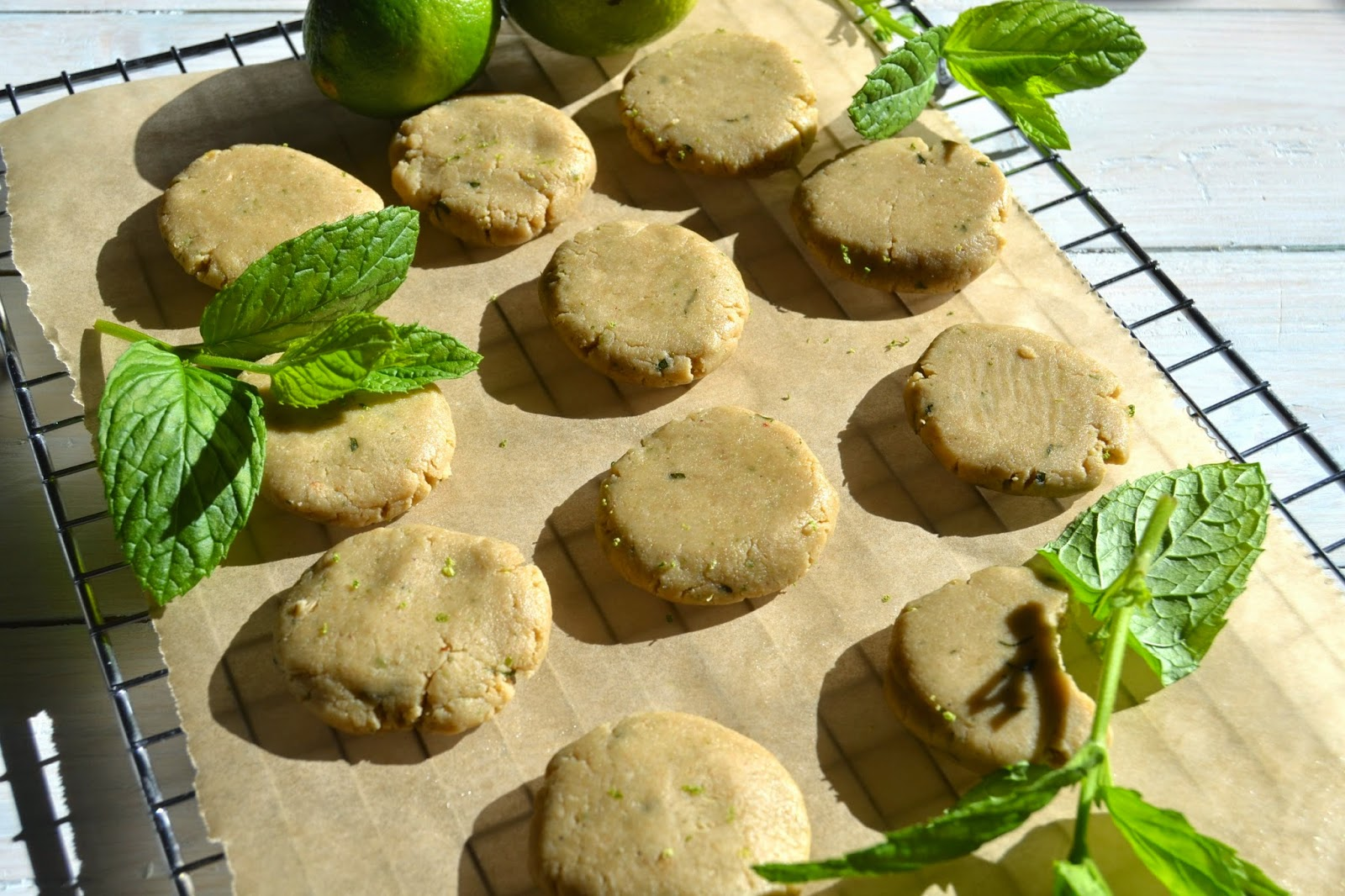 raw cookies flavoured with lime and mint