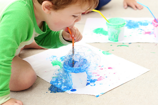 art activities for preschoolers bubble painting