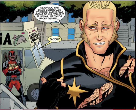 A comics panel featuring a blonde white man, Longshot, jerking his thumb at Deadpool, a red-bodysuit-wearing fellow who dances around in the background clutching a bunch of tacos. Longshot's dialogue reads, 'Deadpool was brain controlled by Order, and he was going to kill you, but it looks like tacos broke the spell.' Deadpool's reads, 'Tacos!'