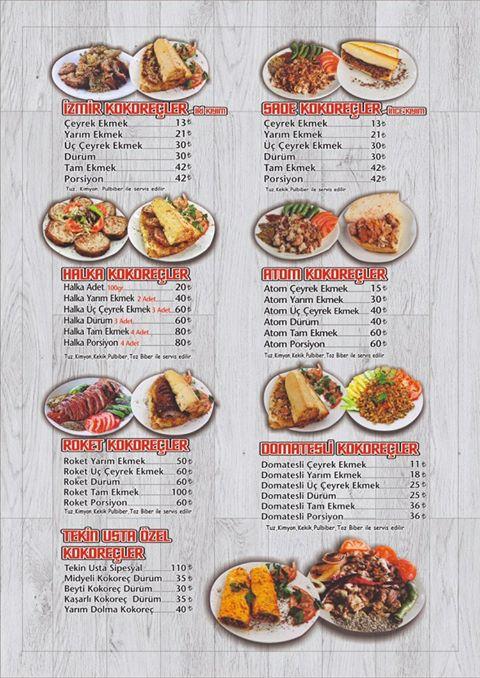 istanbul'da kokoreç nerede yenir? Kokoreççi tekin usta menü fiyat listesi