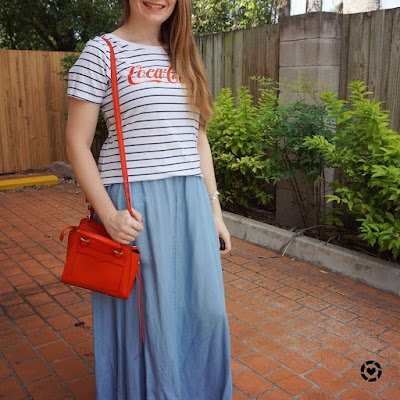 awayfromblue instagram stripe logo coca-cola tee and chambray maxi skirt little red bag